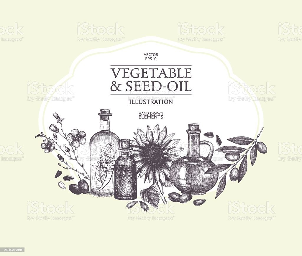 Decorative engraved oil sketch isolated on white. vector art illustration