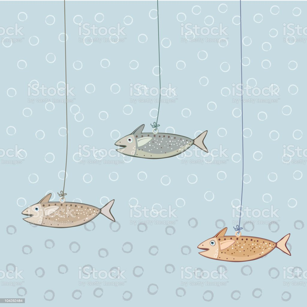 Decorative Fish Hanging On Threads royalty-free stock vector art
