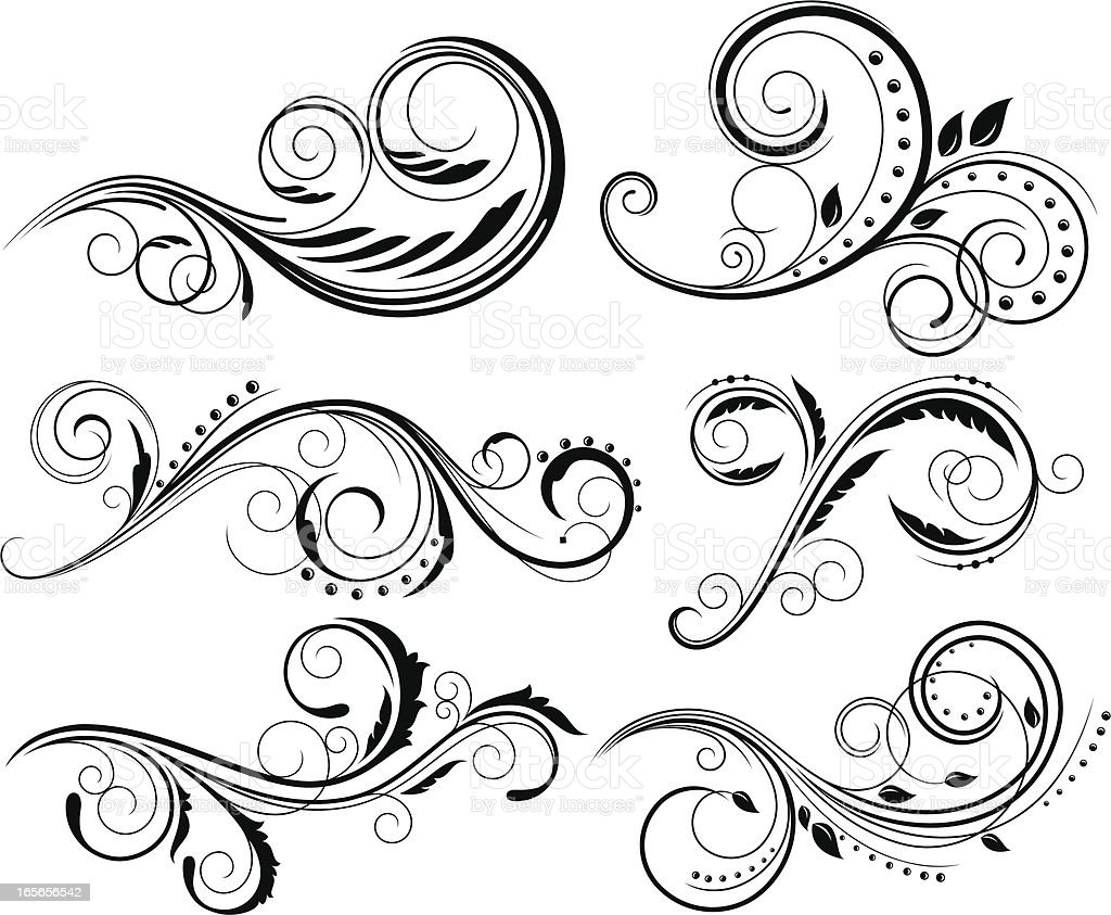 Decorative floral elements royalty-free stock vector art