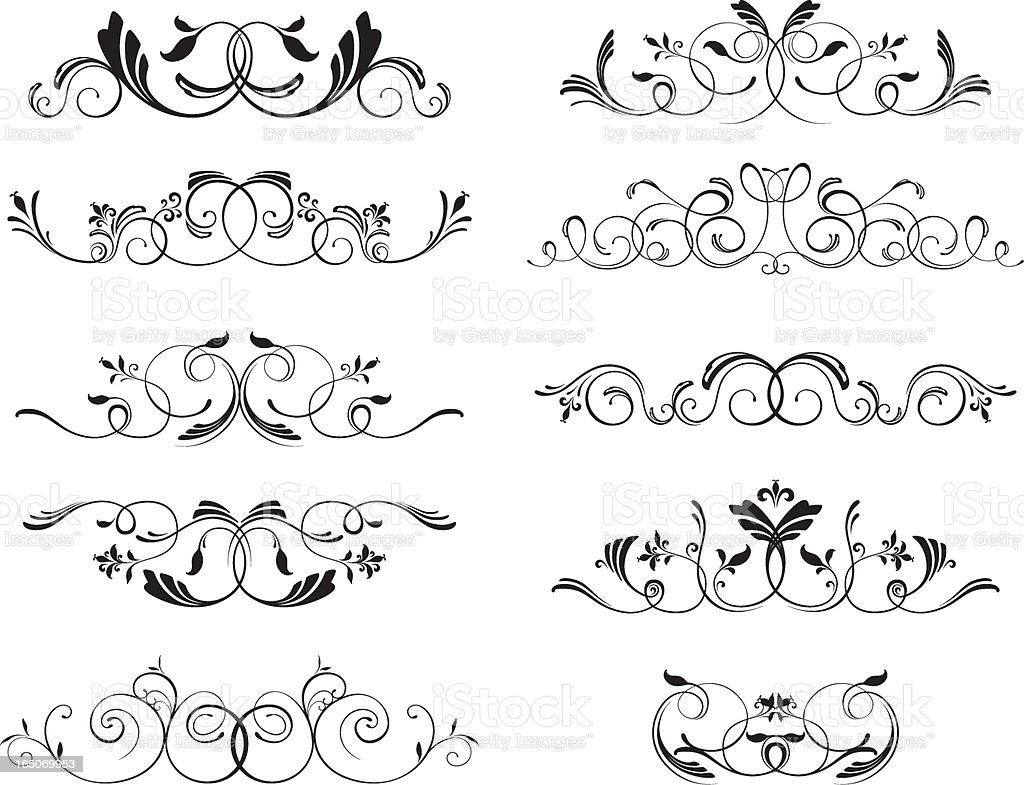 Decorative floral motifs royalty-free stock vector art