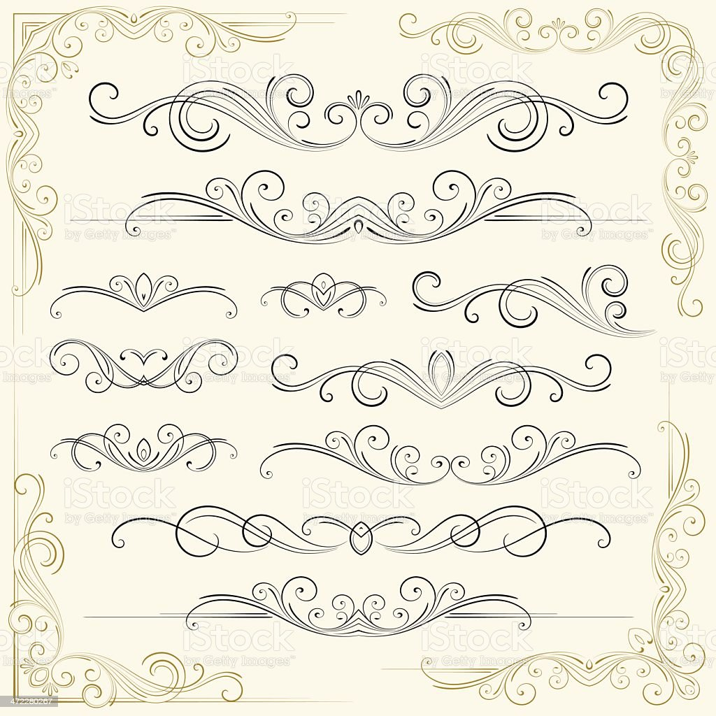 Decorative floral patterns on an invitation royalty-free stock vector art