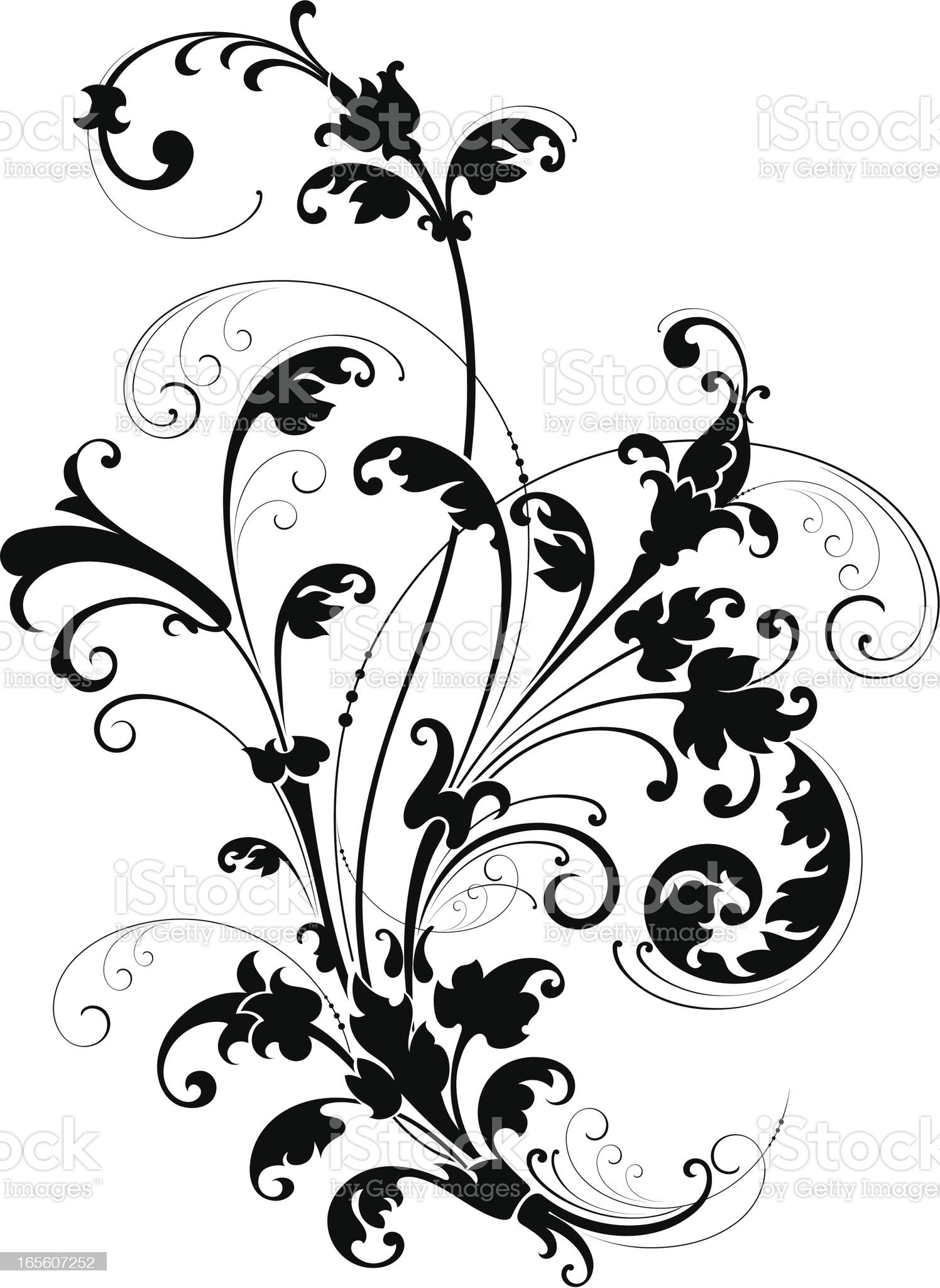 Decorative Floral Scroll royalty-free stock vector art