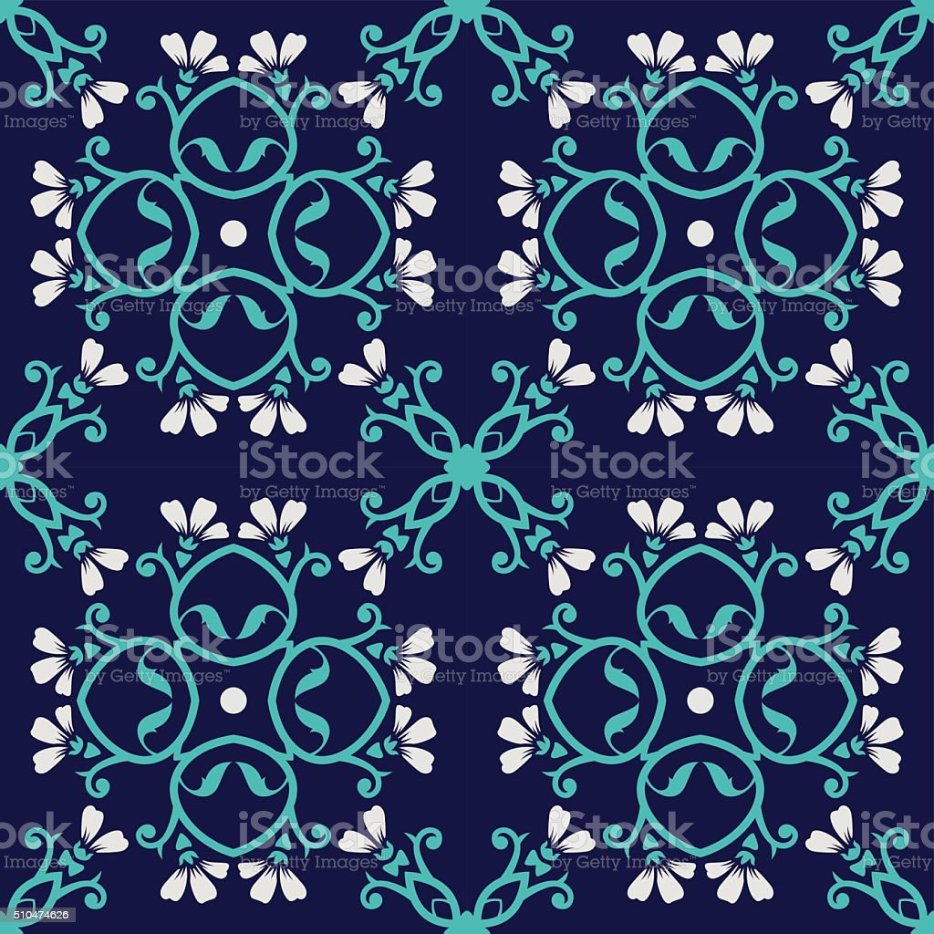 Decorative Floral Seamless Pattern Blue White vector art illustration