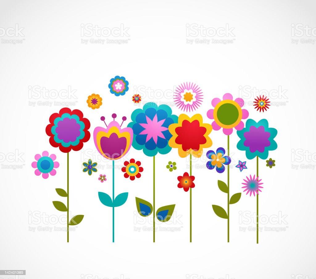 decorative flowers vector art illustration