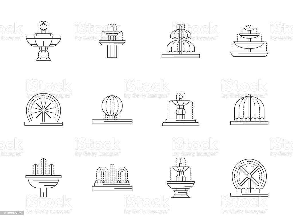 Decorative fountains flat line vector icons set vector art illustration
