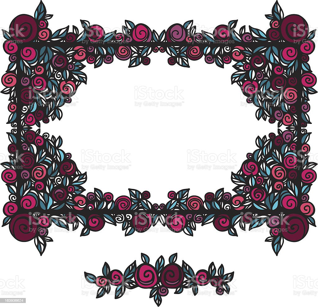 Decorative frame and vignette decorated with roses royalty-free stock vector art