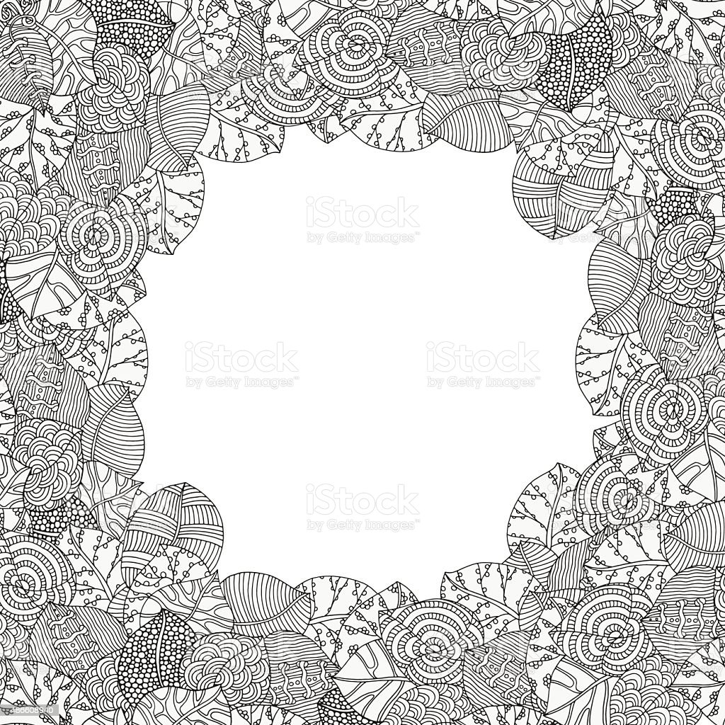 Decorative frame of artistically leaves. vector art illustration
