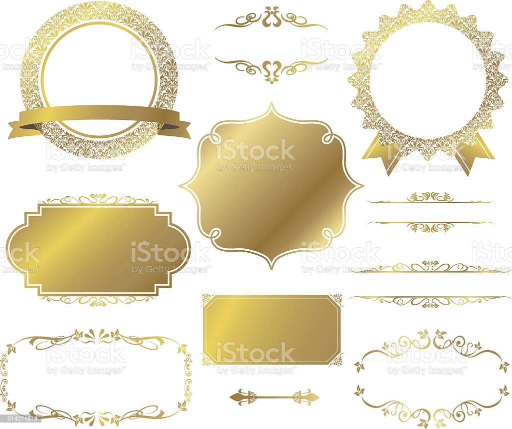decorative frame set Vector vector art illustration