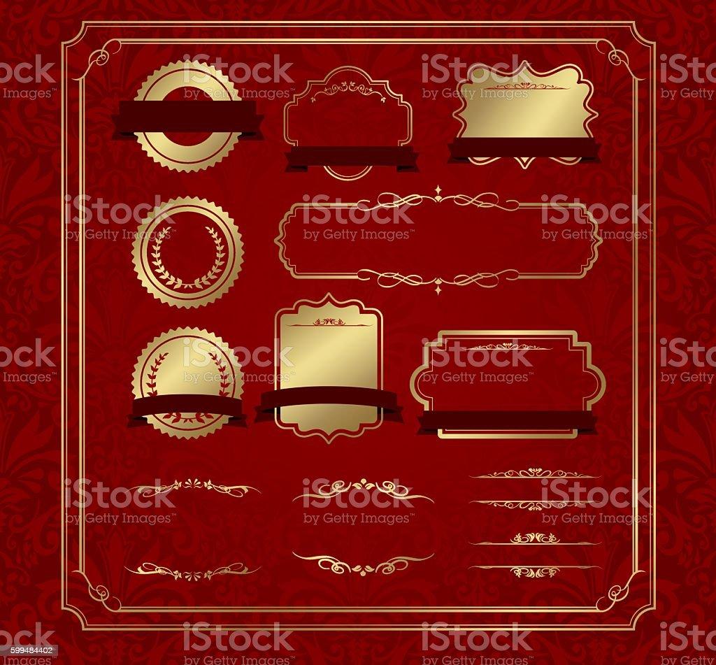 Dekorative Bilderrahmen Set Vektor Vektor Illustration 599484402 ...