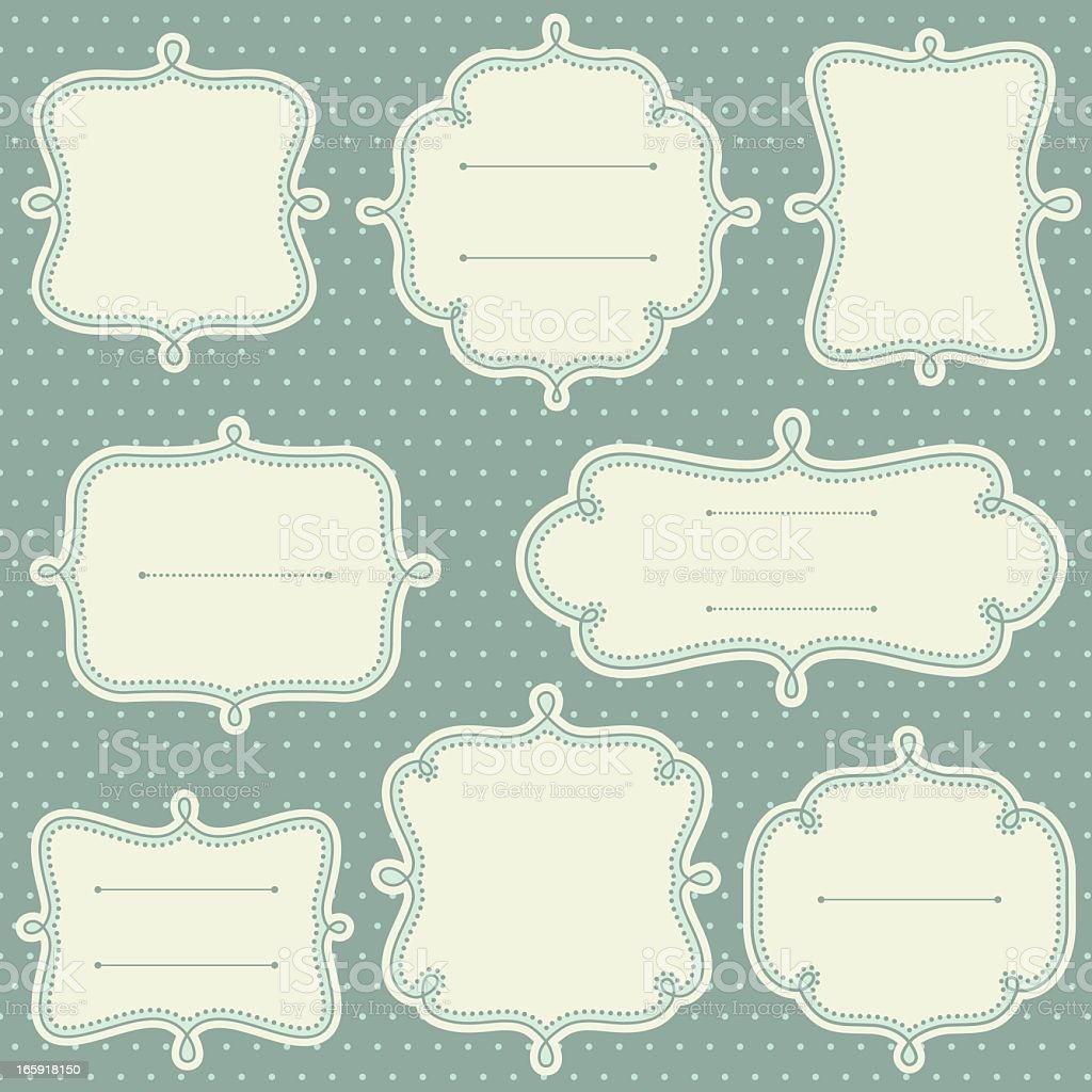 Decorative frame templates in a light teal royalty-free stock vector art