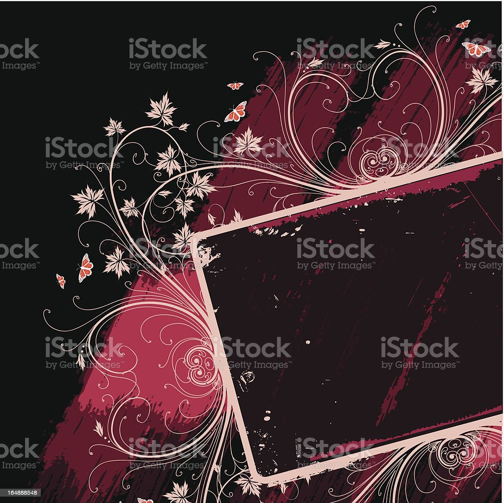 Decorative frame. Vector flowers. Grunge background. royalty-free stock vector art