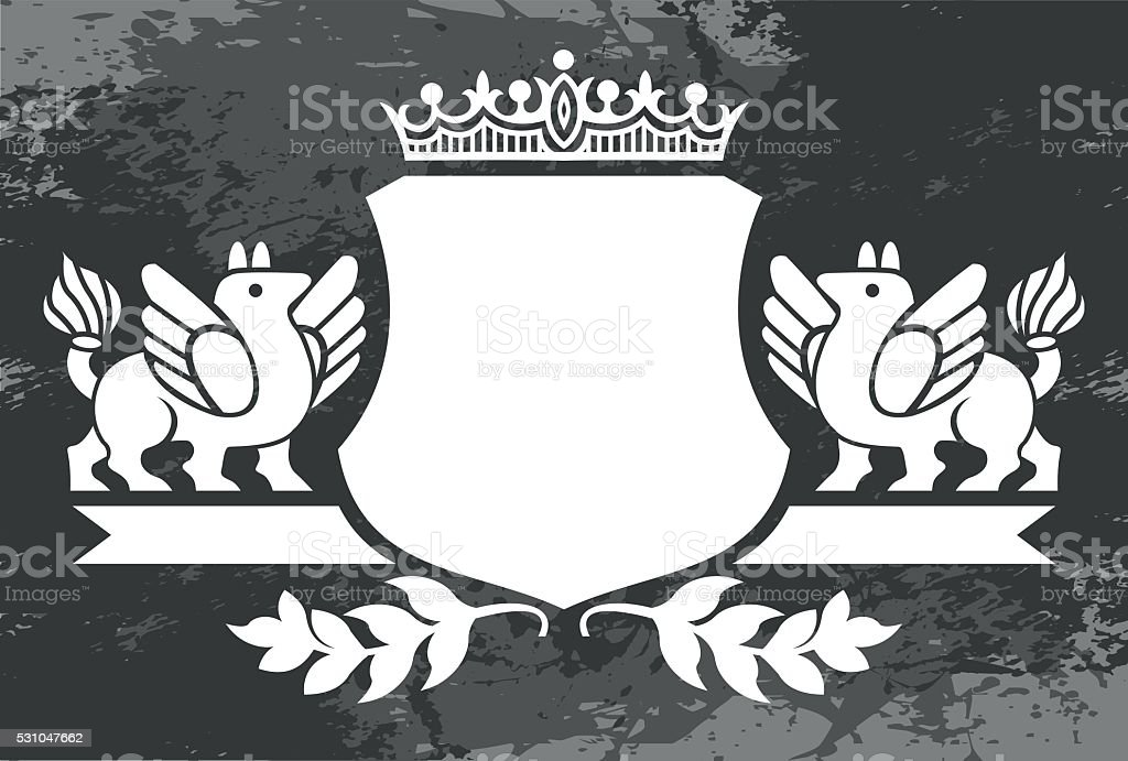 Decorative frame with crown vector art illustration