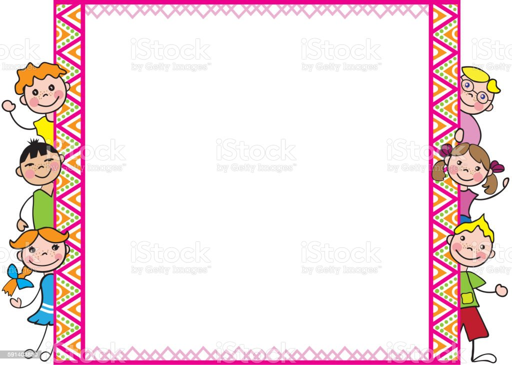decorative frame with kids for diplomas a4 stock vector
