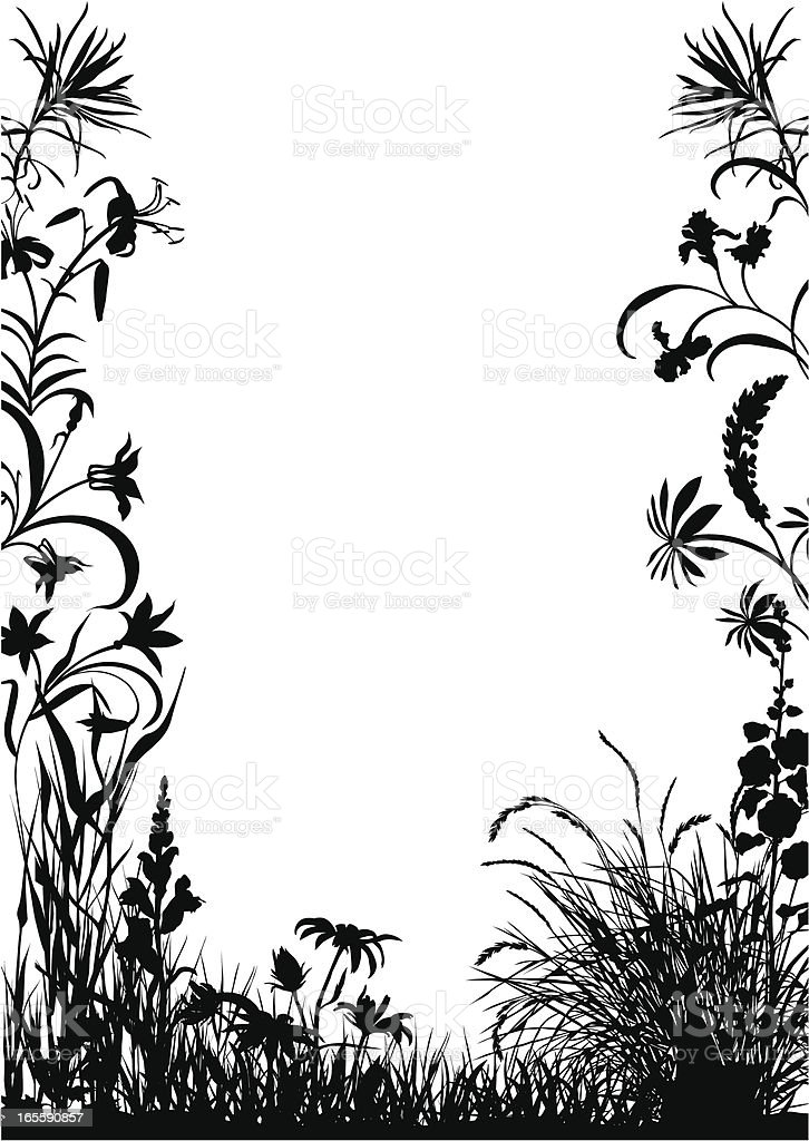 Decorative frame with plants royalty-free stock vector art