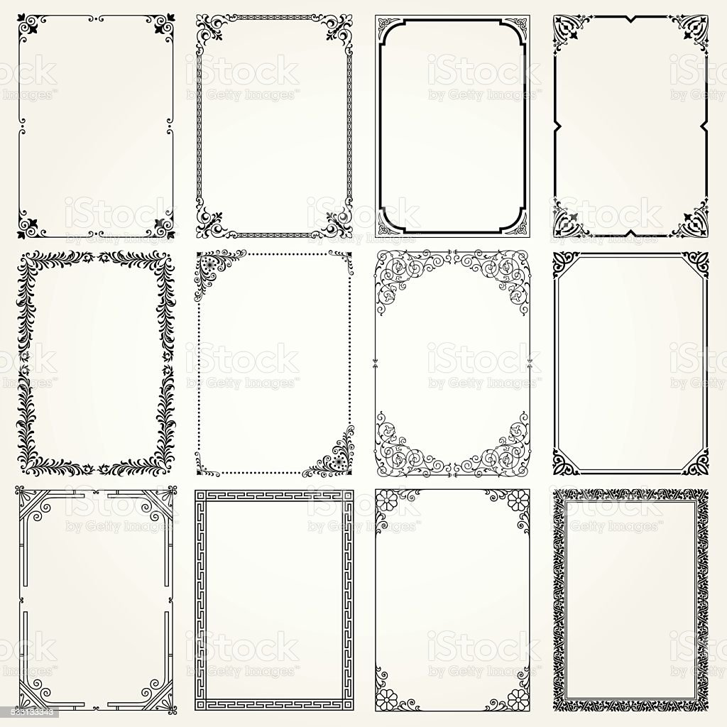 Decorative frames and borders A4 proportions set #4 vector art illustration