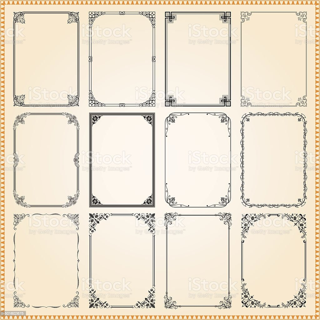 Decorative frames and borders set vector vector art illustration