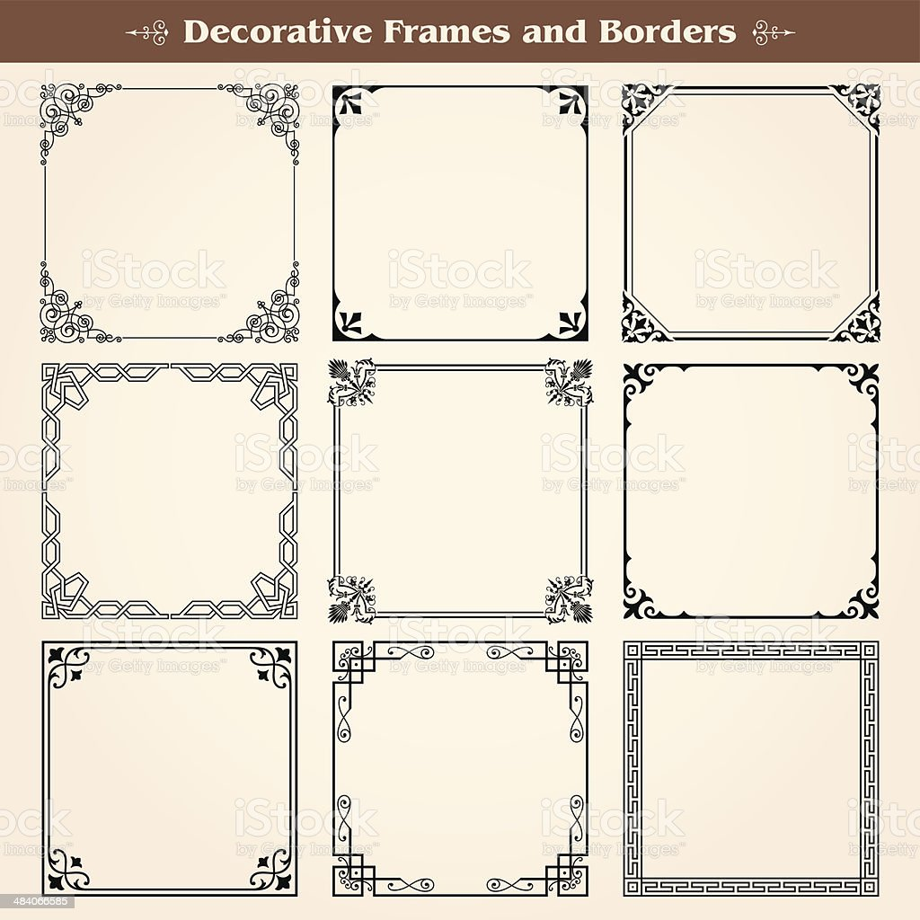 Decorative frames and borders vector art illustration