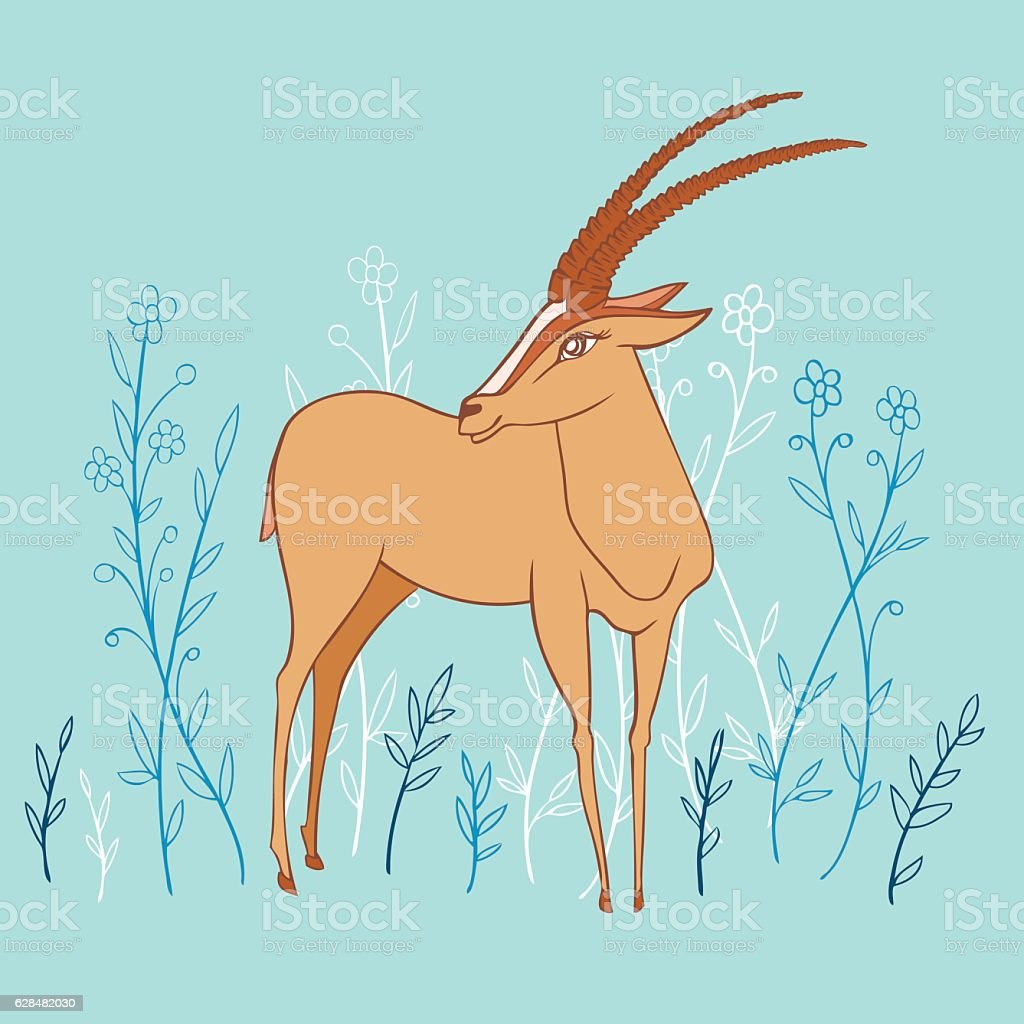 Decorative Gazelle colorful hand drawn vector cartoon doodle animal vector art illustration