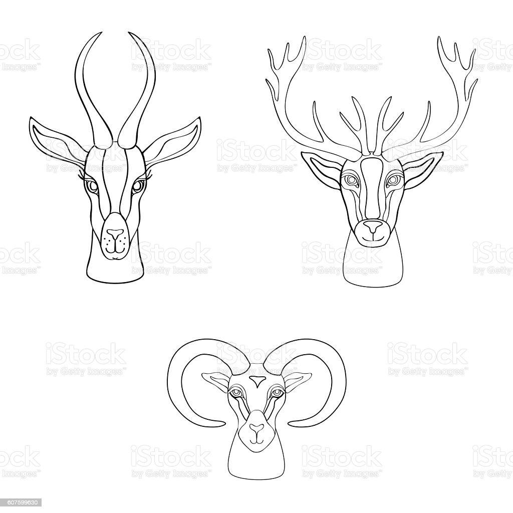 Decorative Gazelle, deer, ram graphic hand drawn vector cartoon vector art illustration