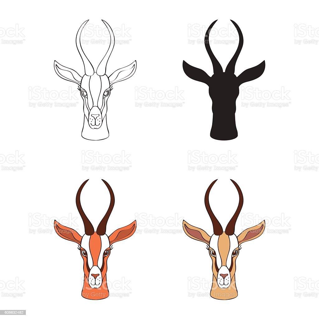 Decorative Gazelle graphic hand drawn vector cartoon doodle animal vector art illustration