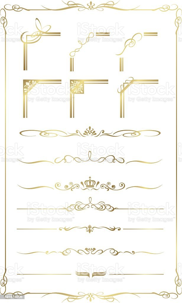 decorative gold frame set Vector vector art illustration