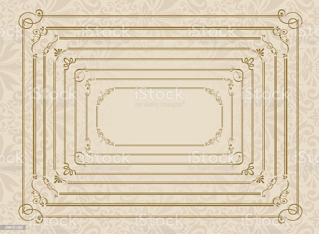 decorative gold frame set Vector vector art illustration