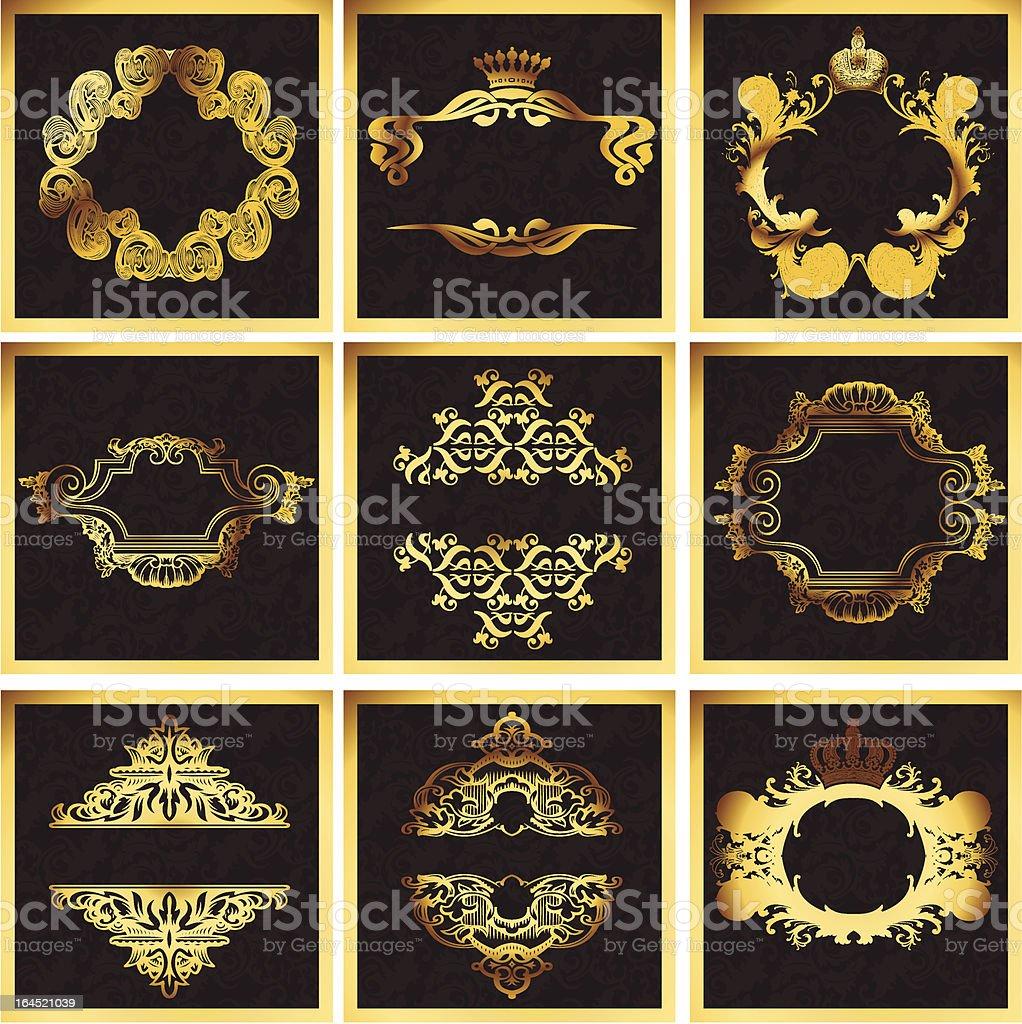 Decorative Golden Vector Ornate Quad Frames royalty-free stock vector art