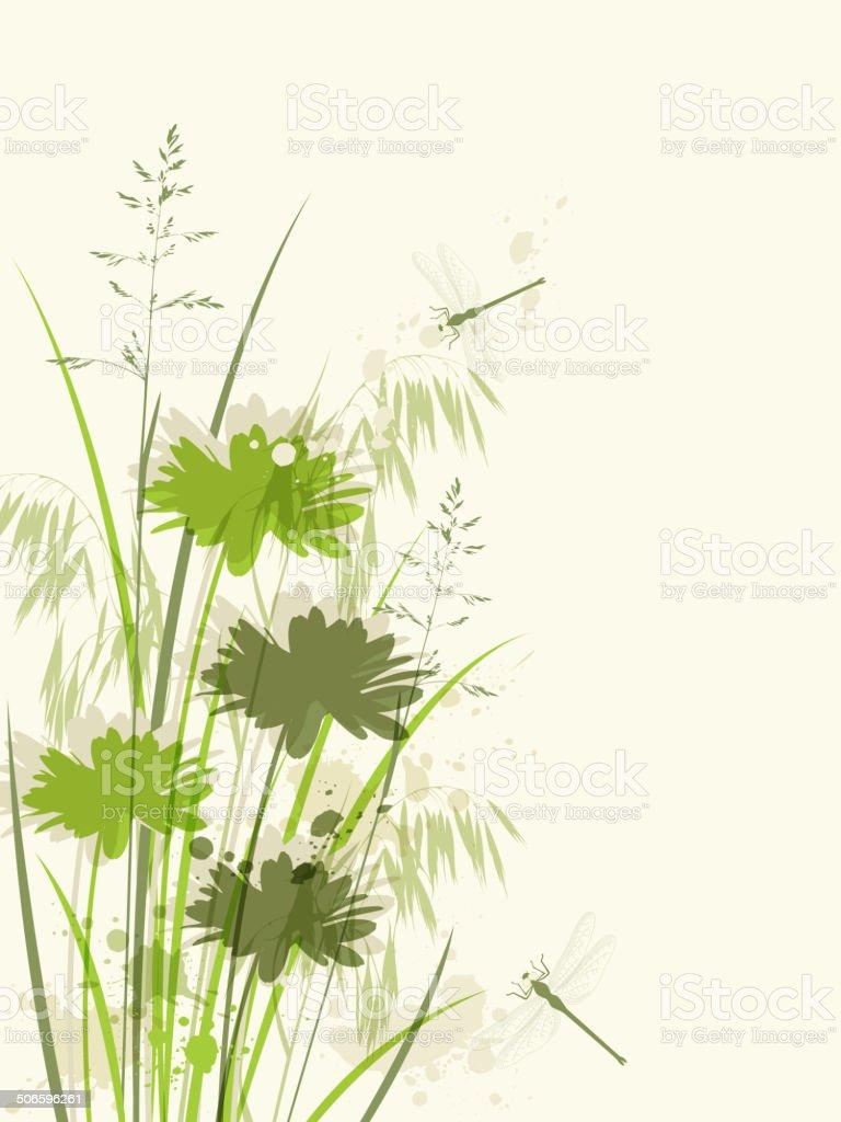 Decorative green floral background vector art illustration