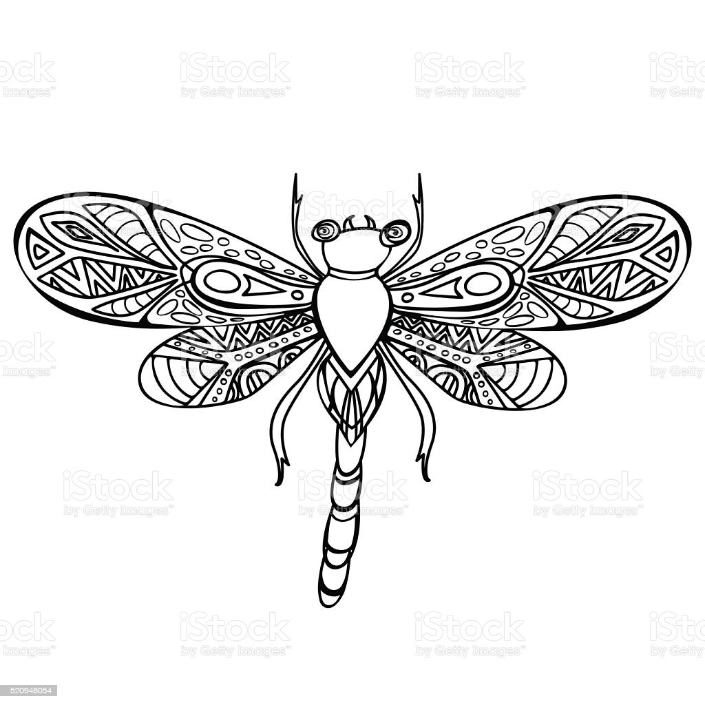 decorative hand drawn doodle dragonfly stock vector art 520948054