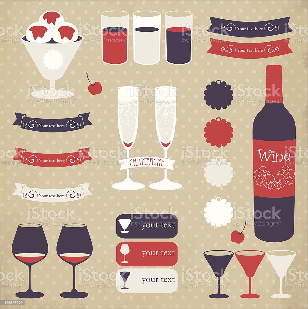 Decorative icon set of bar menu elements. royalty-free stock vector art
