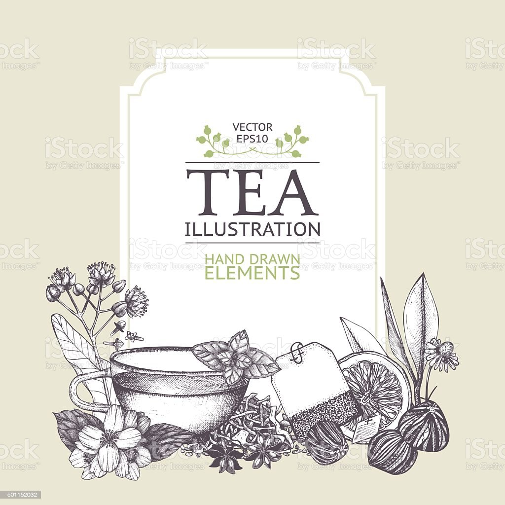 Decorative inking background with vintage tea sketch. vector art illustration