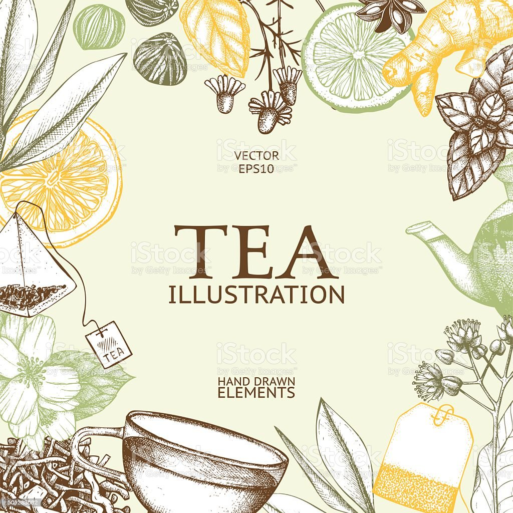 Decorative inking background with vintage tea sketch. vector art illustration