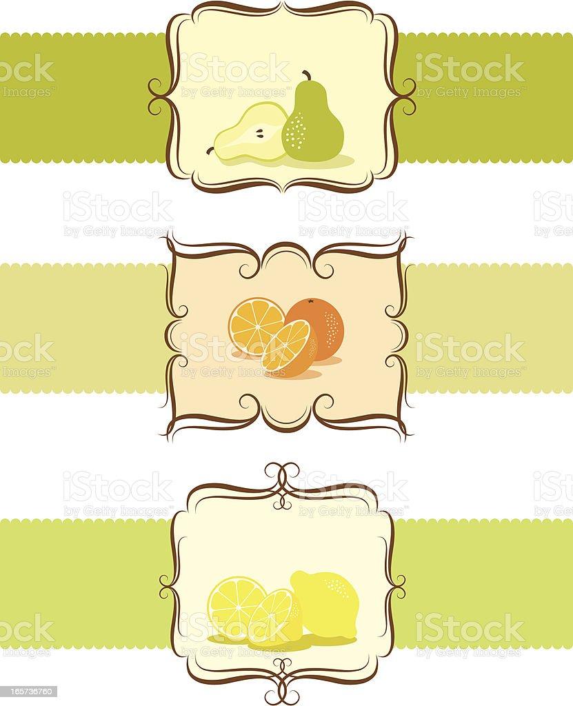 Decorative Label Frames with Fruits vector art illustration