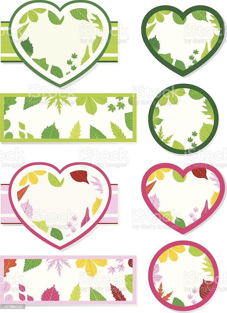 decorative Leafelements (Heartshapes). vector art illustration