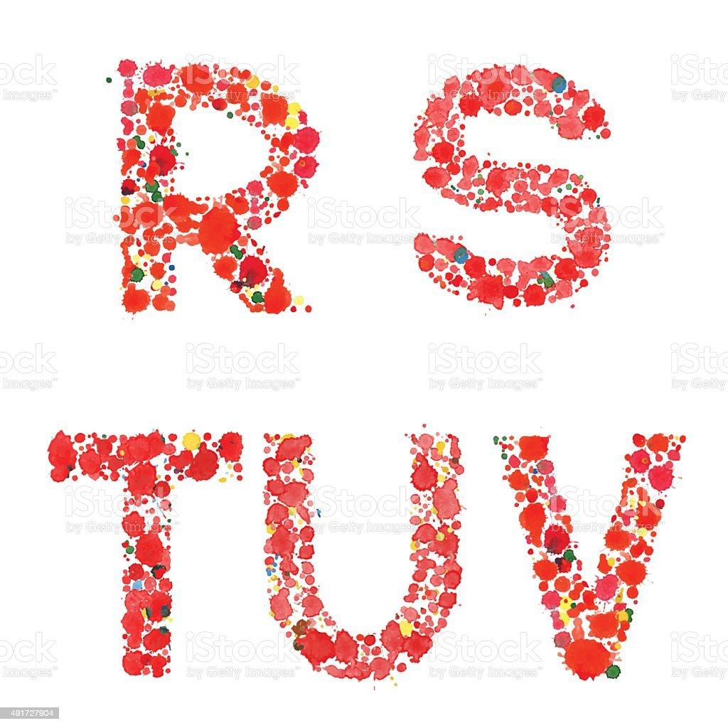 Decorative Letters Decorative Letters R S T U V Made Drops Stock Vector Art 491727904
