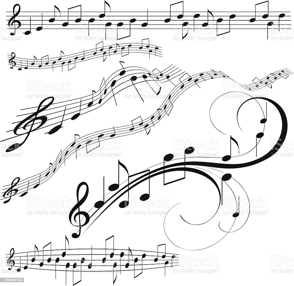 Decorative music note vector art illustration
