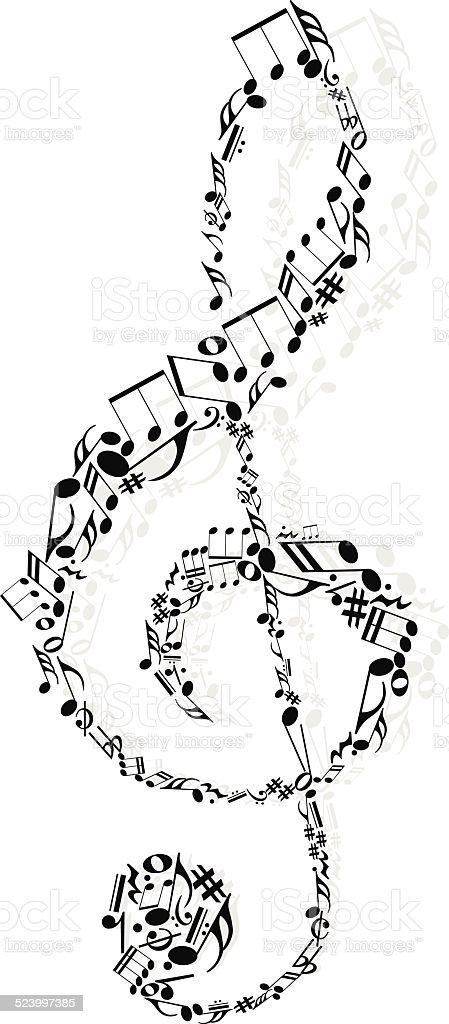 Decorative music note vector art illustration