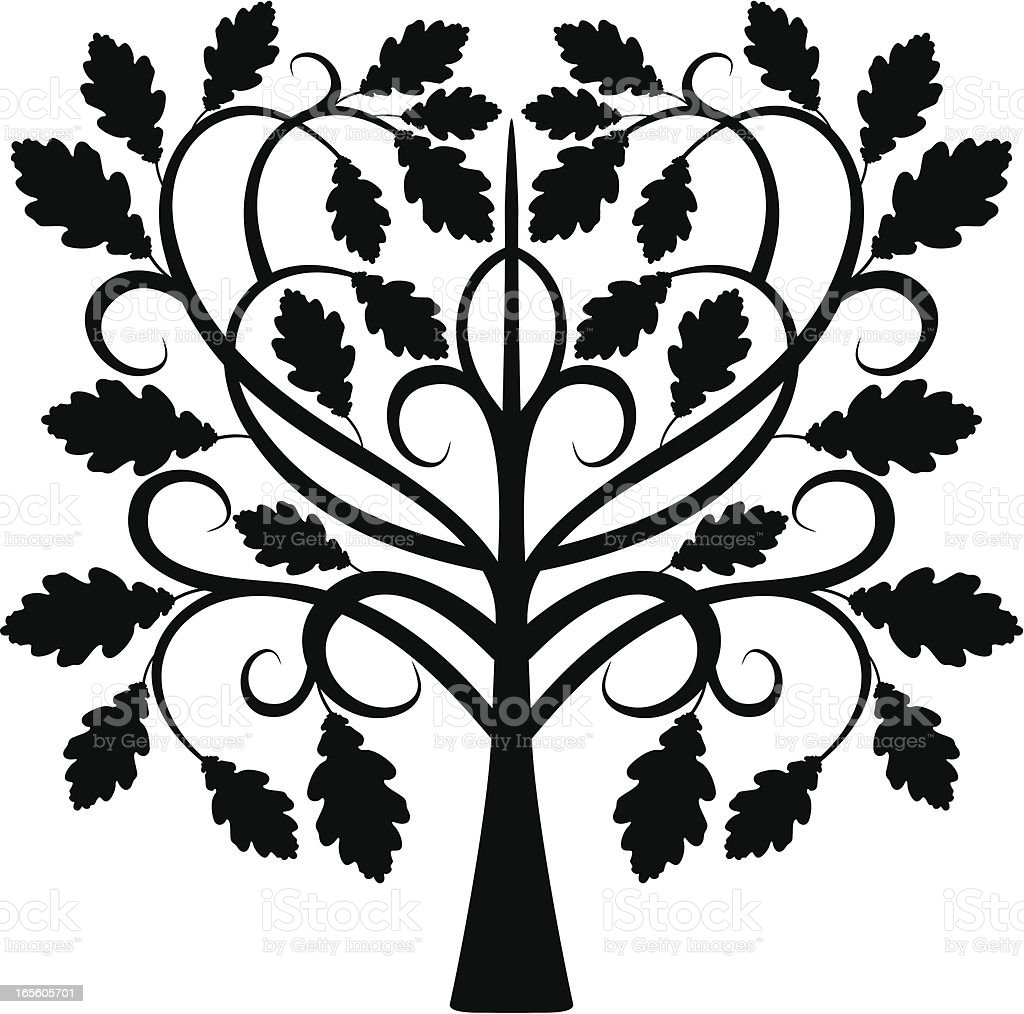Decorative oak in black royalty-free stock vector art