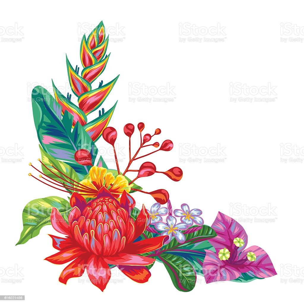 decorative object with thailand flowers tropical multicolor plants leaves and - Decorative Flowers