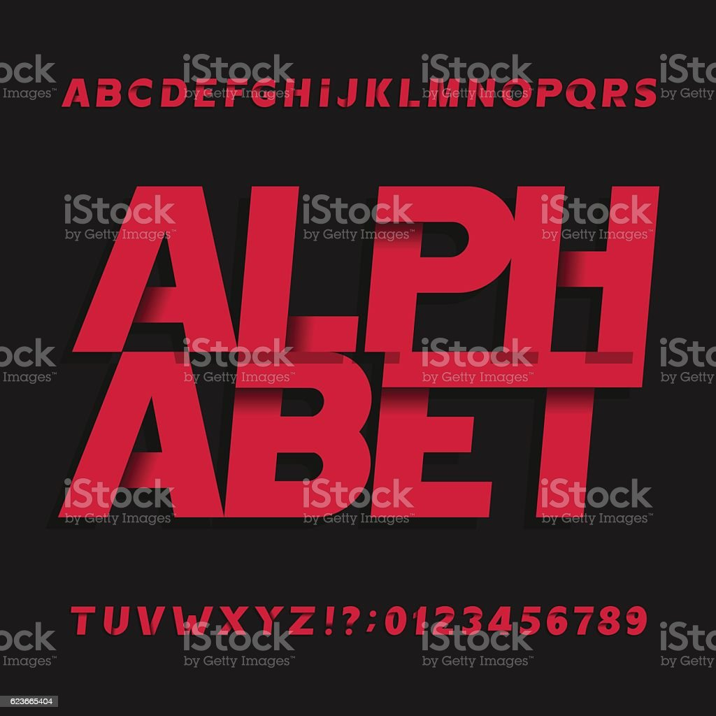 Decorative oblique alphabet vector font. vector art illustration