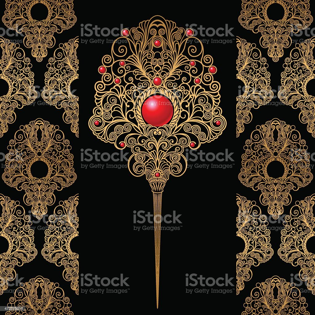 Decorative Ornament Brooch And Wallpaper royalty-free stock vector art