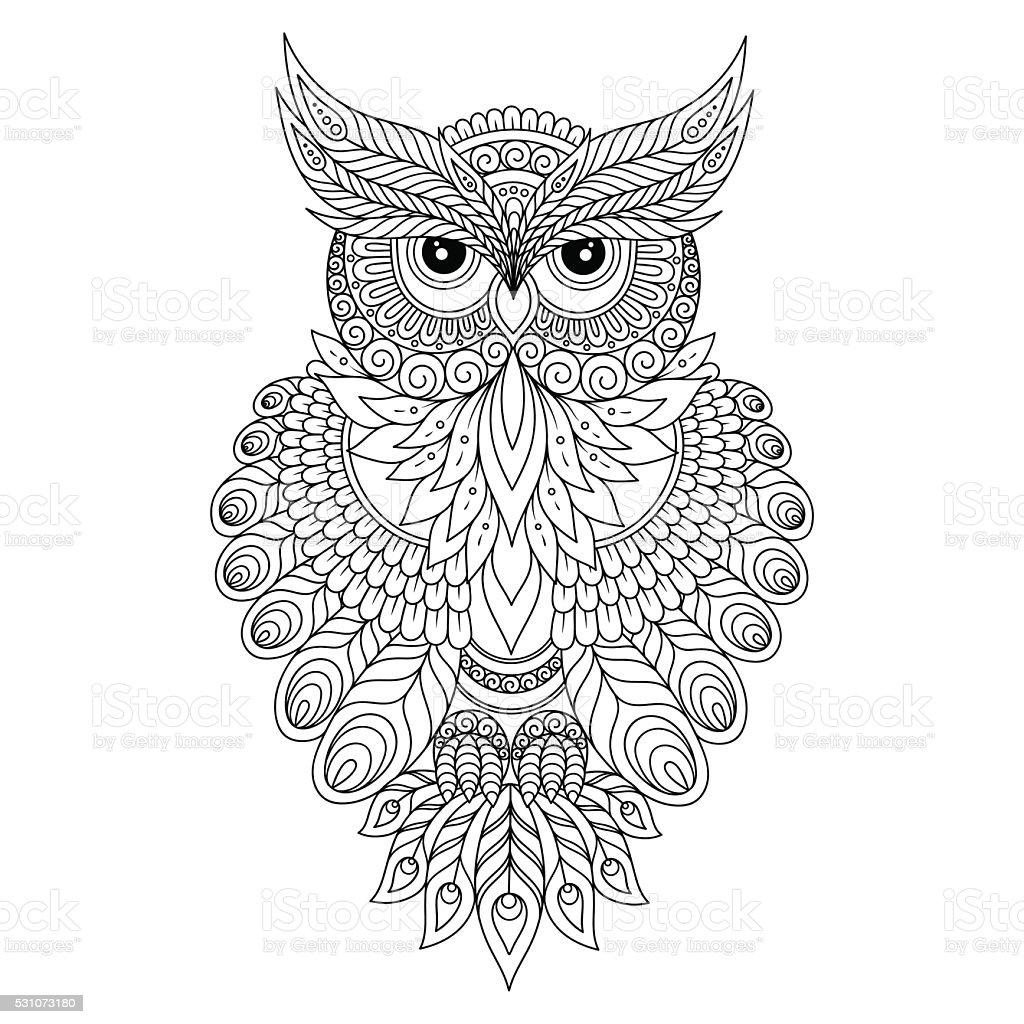 Decorative ornamental Owl. vector art illustration