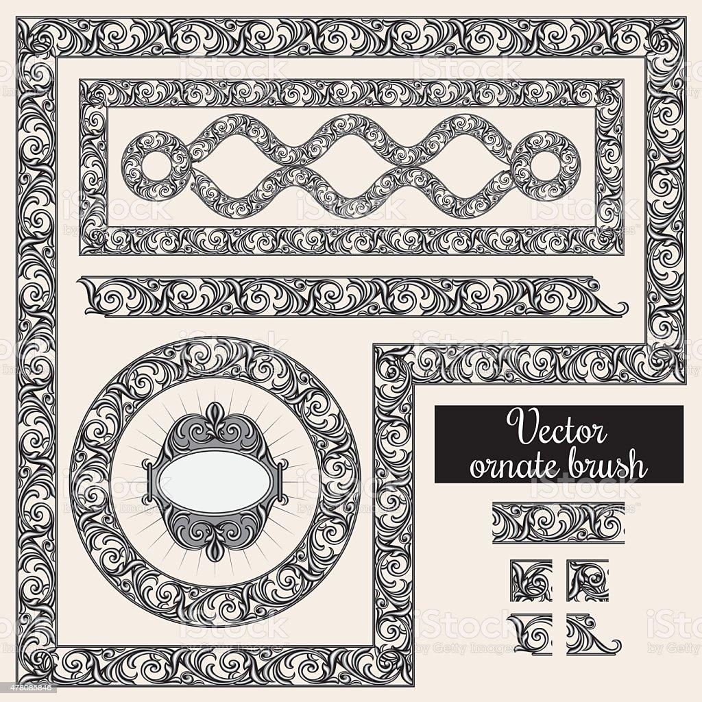 Decorative ornate design elements and brush for illustrator vector art illustration