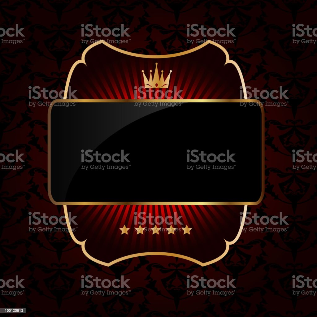 Decorative ornate golden vector frame on dark background royalty-free stock vector art