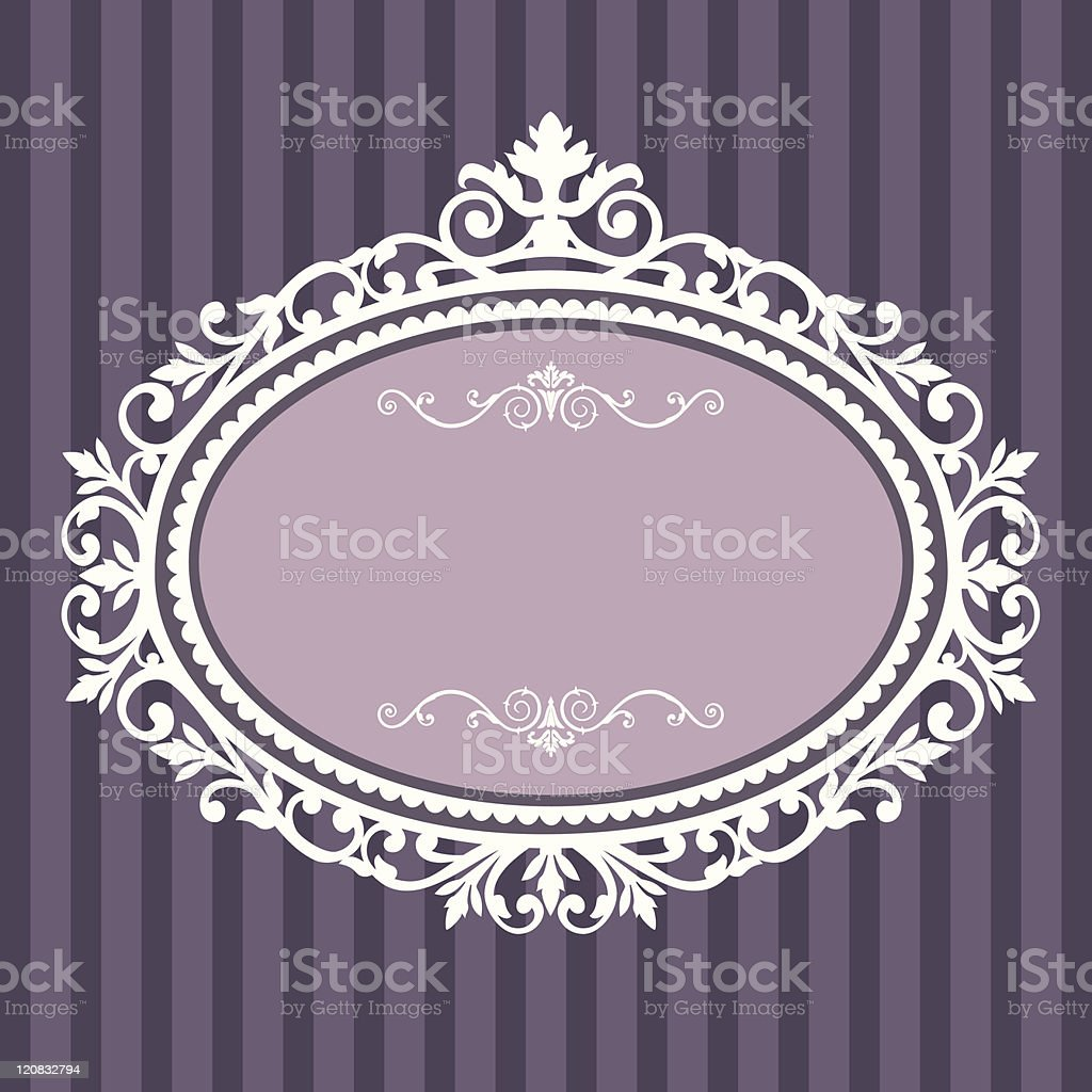 Decorative oval vintage frame vector art illustration