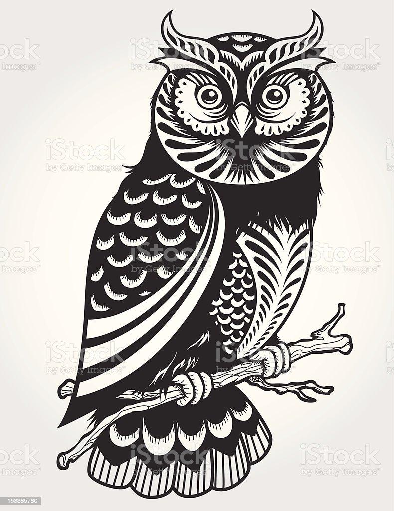 Decorative Owl on branch vector art illustration