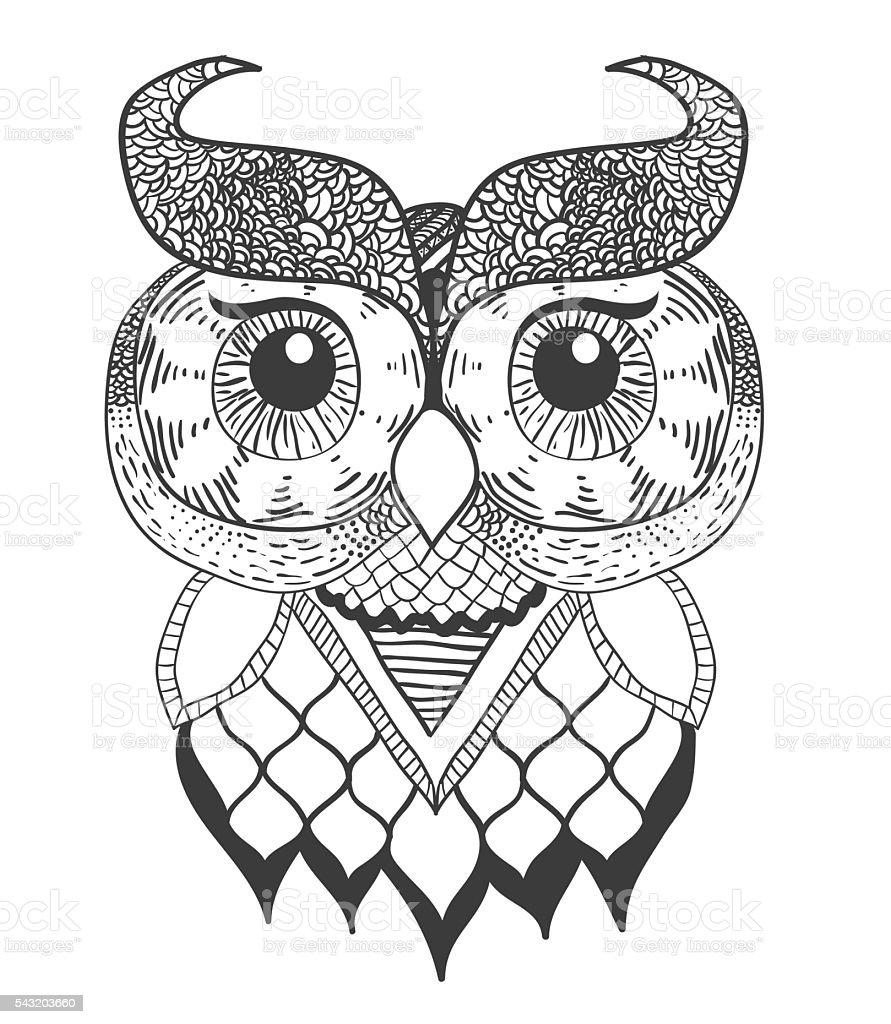 Decorative Owl vector art illustration