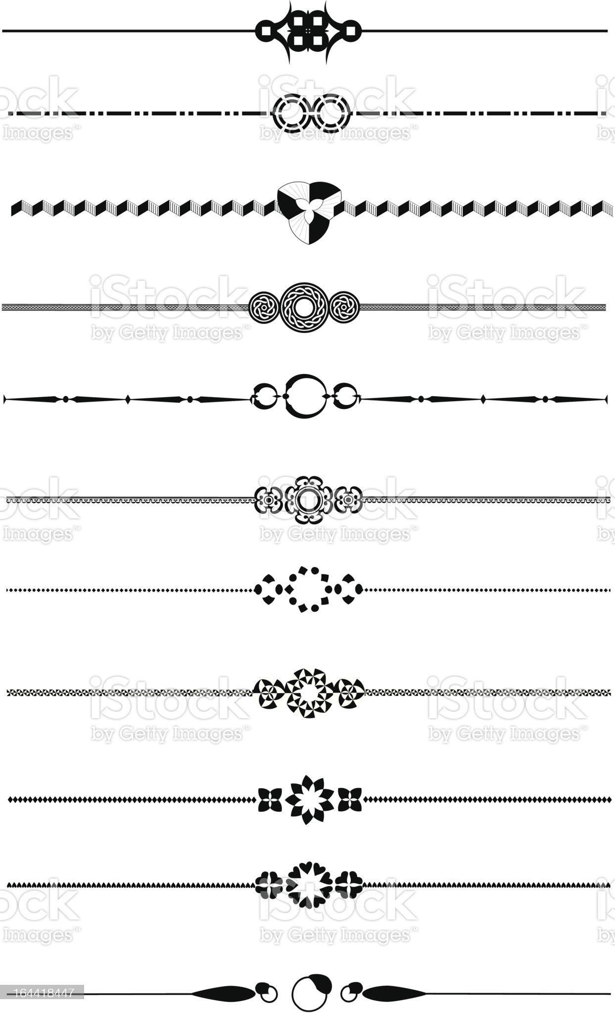 Decorative page divider set royalty-free stock vector art