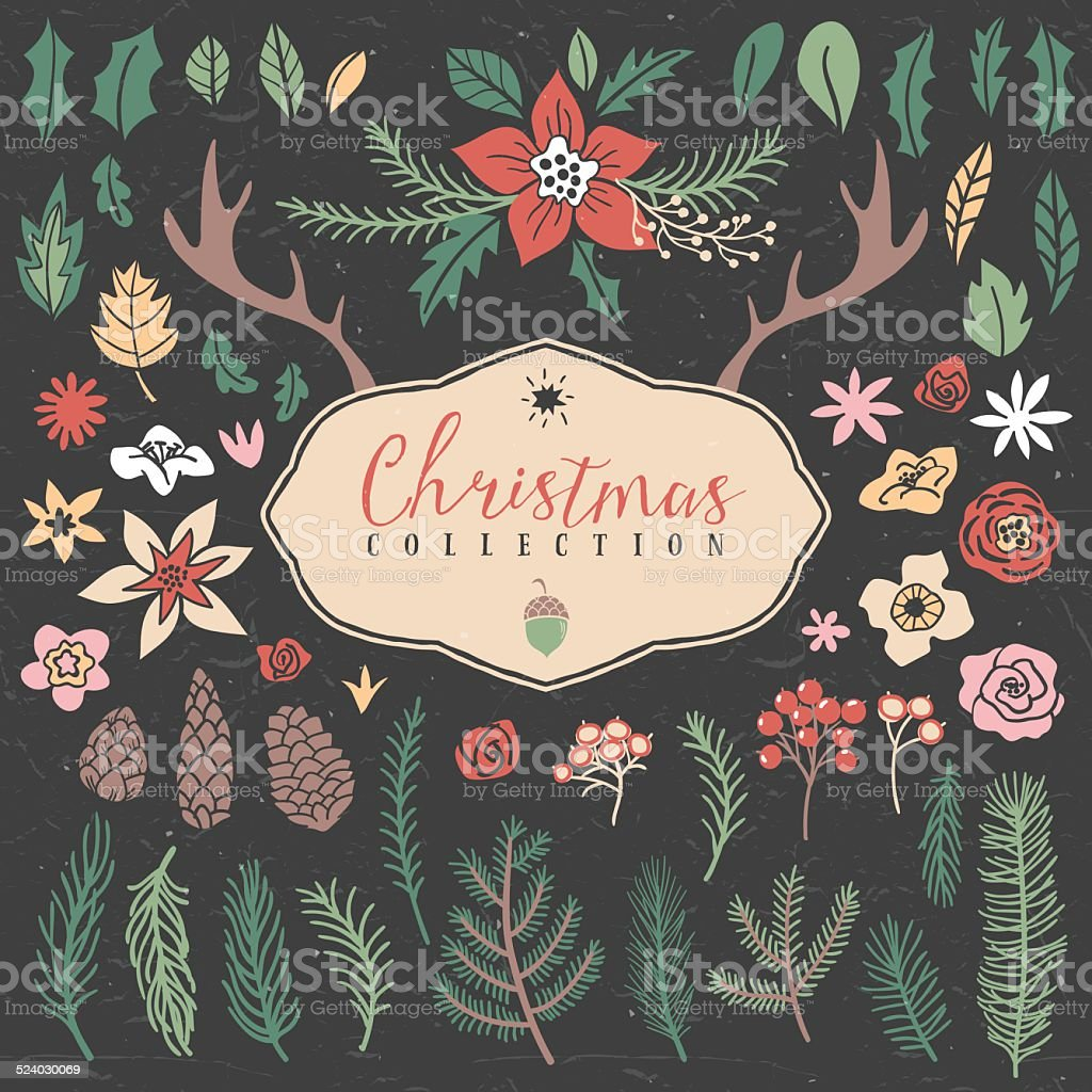 Decorative plant items. Christmas collection. vector art illustration