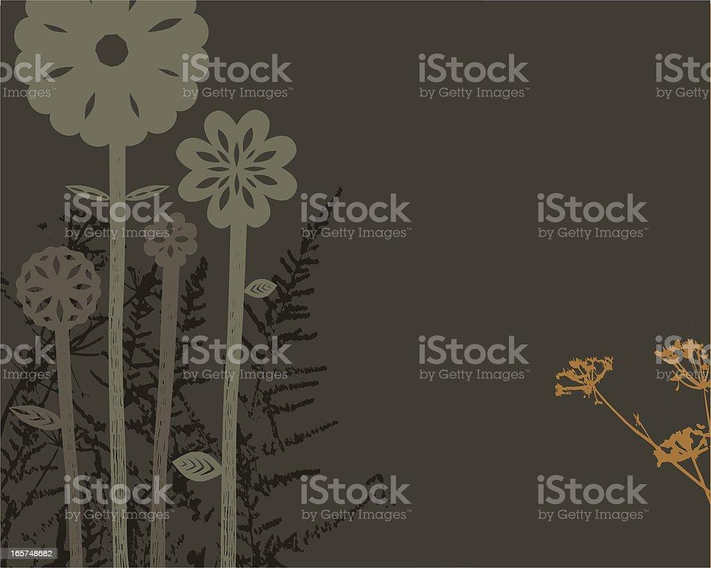 Decorative plants and flowers on dark background vector art illustration